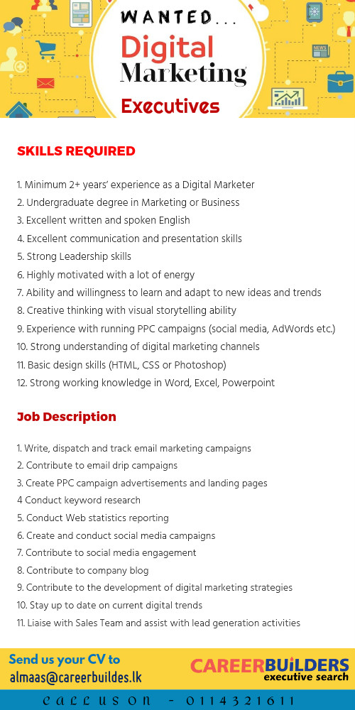 Digital Marketing Executive  JobpalLk  Find Jobs In Sri Lanka